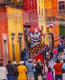 Walking Puppet Tourists Jardin Town Square San Miguel de Allende Mexico Stock Photography