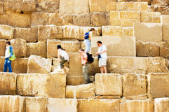 Walking on Pyramid. People walking on Pyramid in Egypt Royalty Free Stock Photos