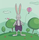 Walking rabbit vector illustration Royalty Free Stock Photo