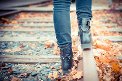 Walking Railroad Tracks stock photos