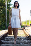 Walking on railroad tracks Stock Image