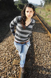 Walking on a railway track Stock Photography