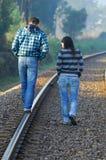 Walking on railway tracks Royalty Free Stock Photography