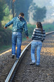 Walking on railway tracks Royalty Free Stock Photos