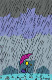 Walking In The Rain. Stick figurine person with umbrella and briefcase cheerfully walks through pouring rain royalty free illustration