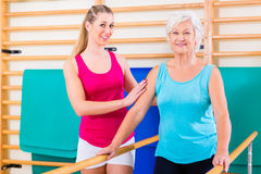 Walking Rehab in with senior woman Royalty Free Stock Photo