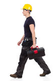 Walking repairman carrying toolbox Royalty Free Stock Photos