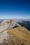 Walking on the ridge. Of the Piatra Craiului mountains in Romania (Carpathians Stock Photos
