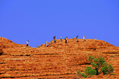 Walking a ridgeline in the outback. Hikers walking in the outback of the Northern Territory of Australia Stock Images