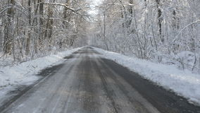 Walking on a road in the snow covered forest in winter stock footage