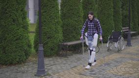 Walking in the robotic exoskeleton outdoor recovery from injury rehabilitation