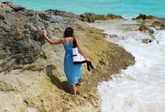 Walking On A Rock Stock Photo