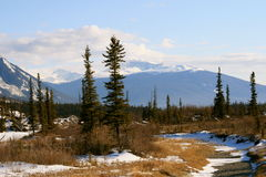 Walking in rocky mountains. Jasper national park, alberta, canada, good sunny weather, frozen river Royalty Free Stock Image