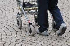 Walking with rollator Stock Photography