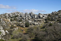 Walking route of El Torcal de Antequera Stock Photography