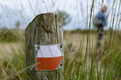 Walking route pointer on a wooden pole Royalty Free Stock Image