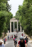 Walking route of the Villa Borghese Gardens Park . Rome Royalty Free Stock Photography