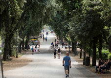 Walking route of the Villa Borghese Gardens Park . Rome Stock Photography