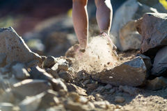 Walking or running legs, adventure and exercising. Walking or cross country running legs on rocky trail, adventure and exercising in mountains nature, dirt road stock images