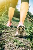 Walking or running legs in forest, adventure and exercising. Walking or running exercise, legs on footpath in forest, achievement fitness adventure and stock photography