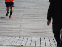 Walking and running outdoors Royalty Free Stock Photography