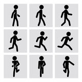 Walking and running people vector icons Stock Photography