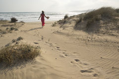 Walking on the sand dunes Stock Photography