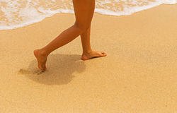 Walking on the sand. Walking on the sand by the sea Royalty Free Stock Image