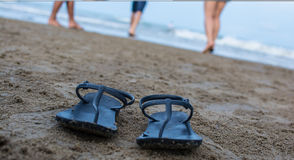 Walking without sandal on the beach Stock Image