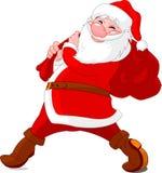 Walking santa. Santa Claus walking with big bag Stock Images