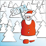 Walking Santa Claus 2014 Spruce Forest Royalty Free Stock Photography