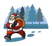 Walking Santa And Pine Tree Background Royalty Free Stock Photo
