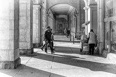 Walking in the Santander city. SANTANDER, SPAIN - MARCH 2015: Detail of buildings and pedestrians walking the streets of the Santander city (Cantabria, Spain Stock Image