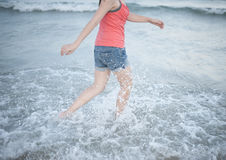 Walking in the sea. Stock Photos