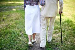 Walking seniors Stock Images