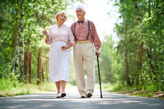Walking seniors Royalty Free Stock Photo