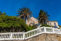 Walking in Sestri Levante looking to the Capuchin friars convent royalty free stock photos