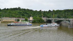 The walking ships on the Vltava River. Czech Republic, Prague Stock Photography
