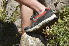 The Walking shoes. All terrain shoes. Red Walking shoes. All terrain shoes Stock Photography