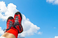 Walking shoes with hiking in the mountains Royalty Free Stock Photo