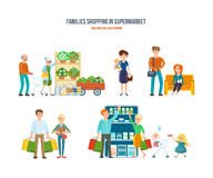 Walking in shopping center, leisure, procurement of goods, entertainment children. Families shopping in supermarket concept. Walking in shopping center, leisure Royalty Free Stock Photos