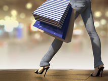 Walking shopping woman holding bag Stock Photo