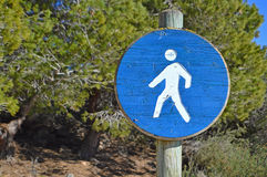 Walking Sign-Pedestrian Walking Display Directions Royalty Free Stock Photography