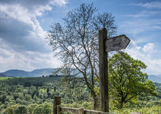 Walking Signpost for Skiddaw. Directional sign for Lake District walk royalty free stock image