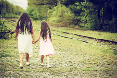 Walking sisters Royalty Free Stock Image