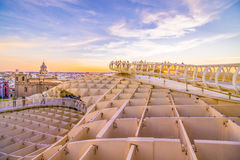 Walking in the skies. From the top of the Space Metropol Parasol (Setas de Sevilla) one have the best view of the city of Seville, Spain. It provides a unique Royalty Free Stock Images