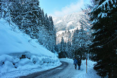 Walking on slippery road in snowy alpine landscape Stock Photo