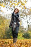 Walking With a Smile in Autumn Stock Photos