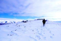 Walking on the snow stock photo