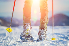 Walking with  snowshoes in mountains Royalty Free Stock Photos